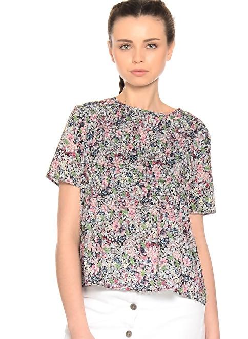 Limon Company Çiçek Desenli Yarım Kol Bluz Renkli